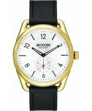 Nixon A459-2226 Mens C39 reloj de cuero negro de oro Horween