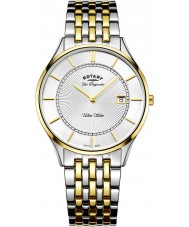 Rotary GB90801-02 Para hombre ultra delgado reloj de pulsera de acero de dos tonos
