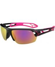 Cebe S-track medio magenta brillante negro de 1500 gafas de sol de espejo gris de color rosa con lente de reemplazo clara