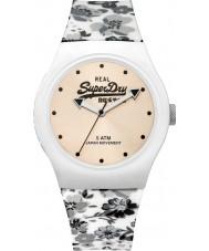 Superdry SYL177C blanco floral urbana con el reloj correa de silicona de impresión floral gris
