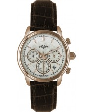 Rotary GS02879-06 relojes para hombre mónaco reloj cronógrafo de los deportes marrón de oro