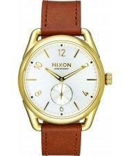 Nixon A459-2227 Para hombre reloj de cuero C39 Horween montura de oro