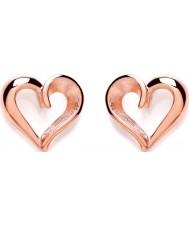 Purity 925 PUR3658ES Señoras de corazón abierto de oro rosa pendientes plateados