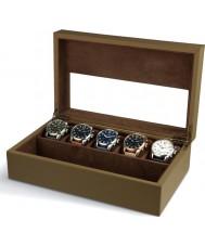 AVI-8 AV-CBOX-02 la caja de recolección de color beige para hombre avi-8 con 5 compartimentos de relojes