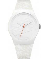 Superdry SYG169W reloj de la correa de silicona blanca urbano con el logotipo impreso en color blanco apagado