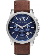 Armani Exchange AX2501 azul reloj cronógrafo vestido marrón masculino