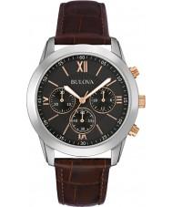 Bulova 98A142 vestido para hombre de cuero marrón reloj cronógrafo