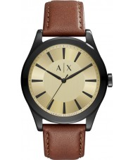 Armani Exchange AX2329 Mens nico reloj de la correa de cuero de color marrón oscuro