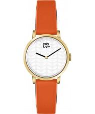 Orla Kiely OK2114 Señoras del reloj de la correa de cuero de color naranja luna