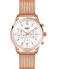 Henry London HL39-CM-0034 Blanco Camiseta de Richmond subió reloj cronógrafo de oro
