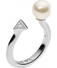 Emporio Armani EG3288040-6.5 Damas deco perlas anillo de plata de ley - M.5 tamaño