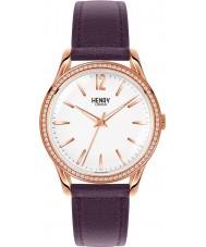 Henry London HL39-SS-0086 Damas Hampstead reloj blanco púrpura con los elementos
