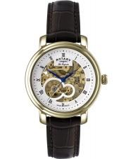 Rotary GS90506-06 Mens les originales reloj de oro esqueleto automática Jura