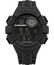 Superdry SYG193B reloj de la correa de silicona negro digital de radar para hombre