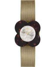 Orla Kiely OK4030 Las señoras de la amapola de la caja de reloj pulsera de malla de oro de la concha