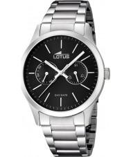 Lotus 15954-3 Para hombre reloj de múltiples funciones de plata negro