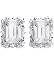 Purity 925 P1478ES-1 Señoras de plata de ley 925 aretes de clúster oblonga