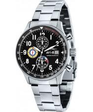 AVI-8 AV-4011-12 Mens huracán del vendedor ambulante de acero de plata reloj cronógrafo