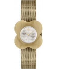 Orla Kiely OK4032 Las señoras de la amapola de la caja de reloj pulsera de malla de oro corno