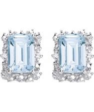 Purity 925 P1478ES-2 Las señoras de topacio azul cielo libras esterlinas aretes de plata