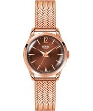 Henry London HL25-M-0044 Damas rastra marrón rosa reloj de oro