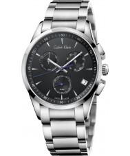 Calvin Klein K5A27141 reloj cronógrafo de plata negro negrita