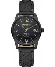 Barbour BB026BKBK Mens alanby reloj de la correa de cuero negro