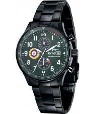 AVI-8 AV-4011-14 Mens huracán del vendedor ambulante de acero negro reloj cronógrafo