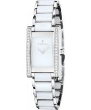 Fjord FJ-6013-33 Damas vihelmina reloj de cerámica blanco de plata