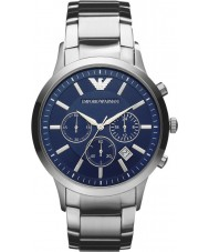 Emporio Armani AR2448 Reloj para hombre azul de plata clásico cronógrafo