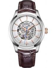 Rotary GS05032-06 Para hombre del tono plateado reloj mecánico esqueleto marrón