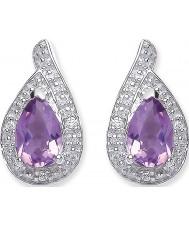 Purity 925 PUR3729ES Señoras púrpura amatista libras esterlinas aretes de plata con CZ