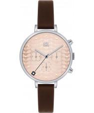 Orla Kiely OK2017 Señoras de la hiedra del reloj de la correa de cuero de color marrón oscuro cronógrafo