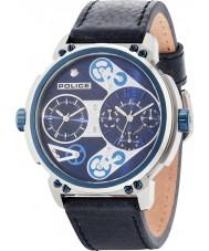 Police 14693JSTBL-03 Reloj para hombre de la correa de cuero azul del steampunk