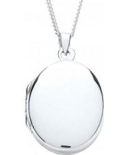 Purity 925 PUR0879-2 Damas collar cerrado plata lisa ovalada