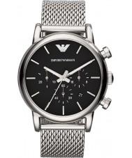 Emporio Armani AR1811 Reloj para hombre pulsera de malla de plata negro clásico cronógrafo