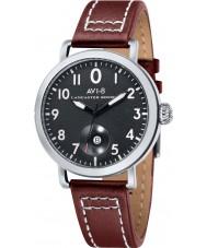 AVI-8 AV-4020-01 reloj de la correa de cuero marrón para hombre del bombardero Lancaster