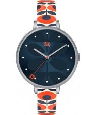 Orla Kiely OK2137 Señoras de la hiedra del reloj de la correa de cuero color crema