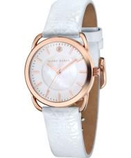 Klaus Kobec KK-10010-03 Evelyn damas patrón embross reloj de la correa de cuero blanco