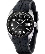 Lotus 15568-3 Para hombre reloj de carreras de caucho negro