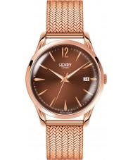 Henry London HL39-M-0050 Damas rastra marrón rosa reloj de oro