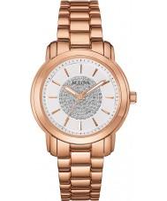 Bulova 97L147 Damas se levantaron reloj cristalino de oro