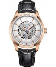 Rotary GS05036-06 Para hombre chapado en oro rosa negro reloj mecánico esquelético