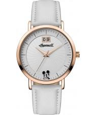 Disney by Ingersoll ID00502 Señoras de la unión de cuero blanco pu correa de reloj