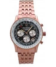 Krug-Baumen 400602DS esfera de color negro diamante de aire que viaja rosa correa de oro
