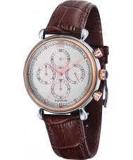Thomas Earnshaw ES-8052-03 Mens gran calandra de barro marrón regalo del reloj crono conjunto con las mancuernas