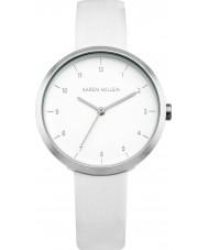 Karen Millen KM135W reloj de la correa de cuero blanco de las señoras
