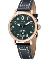 AVI-8 AV-4020-05 reloj de la correa de cuero negro para hombre del bombardero Lancaster