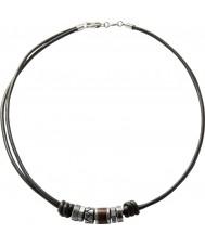 Fossil JF84068040 Mens collar de cuero negro ocasional de la vendimia