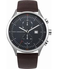 French Connection FC1266UT Reloj para hombre de la correa de cuero marrón